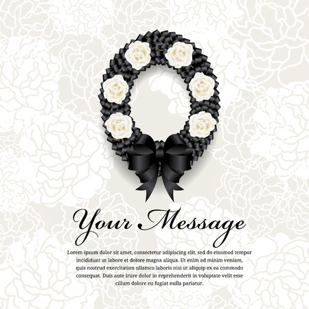 obituary: Funeral card - Circle Black ribbon wreath bow and white rose on soft flower abstract background