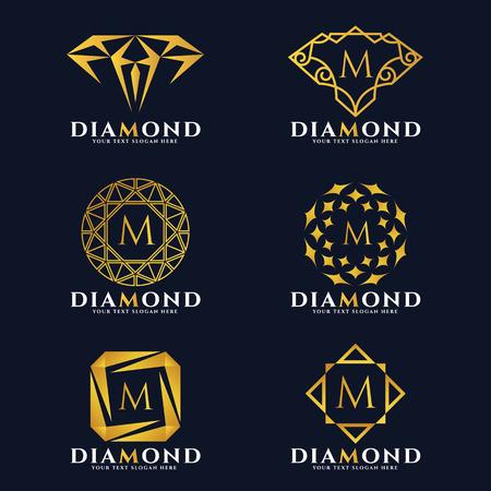 Złoty diament i biżuteria logo wektor zestawu projektowania