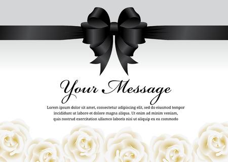 葬儀カード黒リボンの弓と白バラの花のベクトルのデザイン