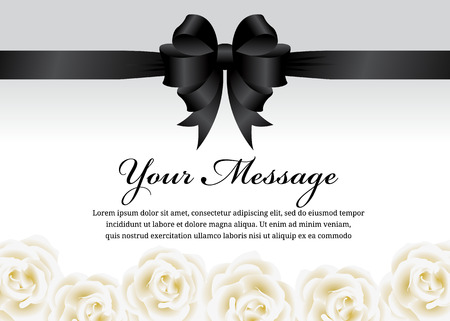 condolence: Funeral card - Black ribbon bow and white rose flower vector design