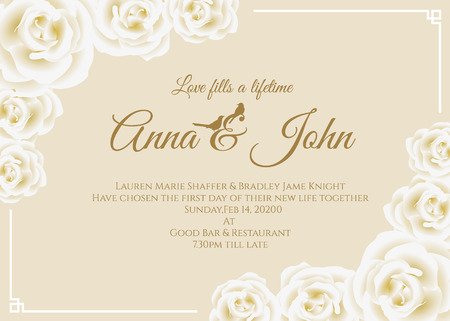 wedding frame: Wedding card - white rose floral frame and soft yellow cream background vector template design