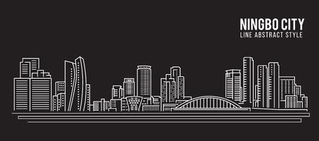 property of china: Cityscape Building Line art Vector Illustration design - Ningbo city