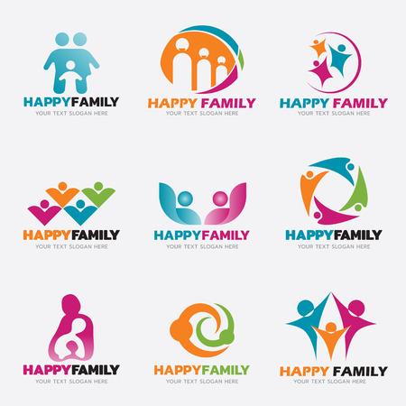 행복 한 가족 로고 벡터 일러스트 레이 션 설정된 디자인