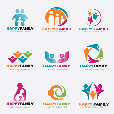Happy Family logo vector illustration set design Vettoriali
