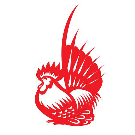 Red paper cut a chicken bantam zodiac symbols Illustration