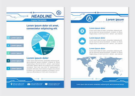 Layout template size A4 Front page and back page Line Circuit Vector design Vector Illustration