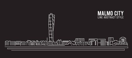 shore: Cityscape Building Line art Vector Illustration design - Malmo city