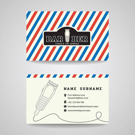 Business card - Barber shop and hair clippers logo vector design