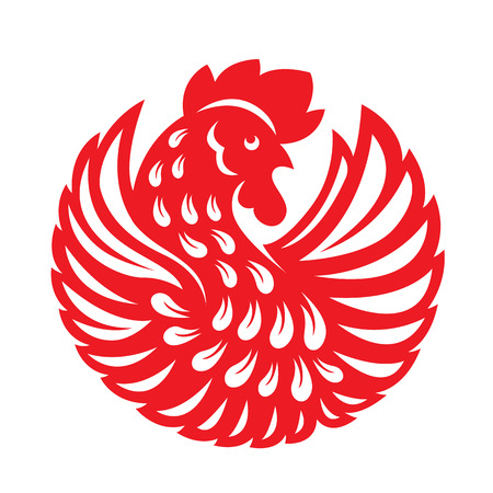 chiken: Red paper cut a rooster chicken circle zodiac symbols Illustration