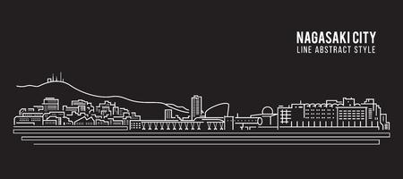 nagasaki: Cityscape Building Line art Vector Illustration design - Nagasaki city