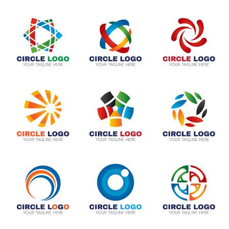 ビジネスのベクトルのための円のロゴのデザインを設定
