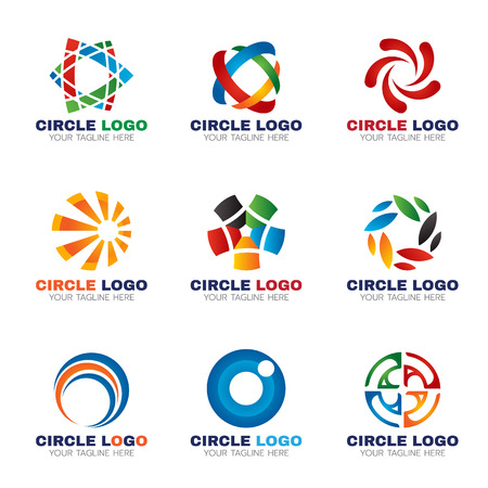 Circle logo for business vector set design Çizim