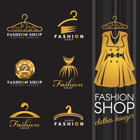 moda ropa: tienda de moda logotipo - invierno viste el oro y el logotipo de ropa colgador conjunto de vectores de diseño