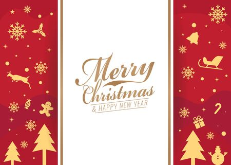 new icon: Merry Christmas and happy new year card - white banner text  and Christmas icon on red background vector design