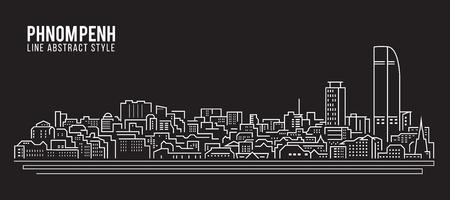都市の景観建物ライン アート ベクトル イラスト デザイン - プノンペン市  イラスト・ベクター素材