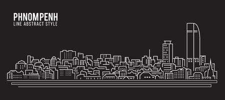 Cityscape Building Line art Vector Illustration design - Phnom Penh city Çizim