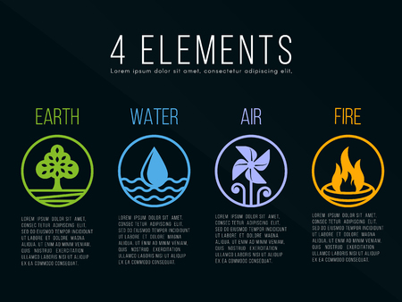 border patrol: Nature 4 elements in circle border  line border abstract icon sign. Water, Fire, Earth, Air. Illustration