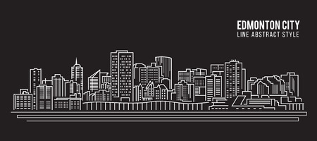 edmonton: Cityscape Building Line art Vector Illustration design - Edmonton city