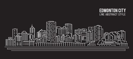 Cityscape Building Line art Vector Illustration design - Edmonton city