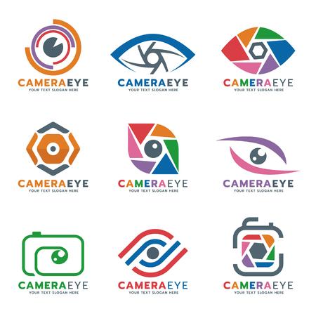 カメラと目のロゴのベクター デザインを設定  イラスト・ベクター素材