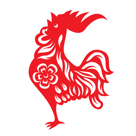 chiken: Red paper cut a rooster crows chicken zodiac symbols Illustration