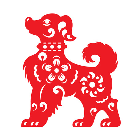Red paper cut a dog zodiac and flower symbols Vectores