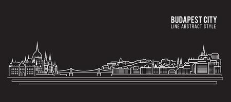도시 건물 라인 아트 벡터 일러스트 레이 션 디자인 - 부다페스트 도시 일러스트