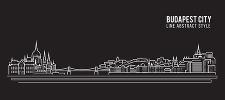 Cityscape Building Line art Vector Illustration design - Budapest city Illustration
