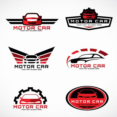 Rojo y negro alas de coches logotipo para el negocio y el servicio vector de diseño conjunto