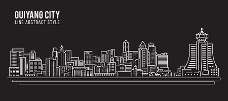 property of china: Cityscape Building Line art Vector Illustration design - Guiyang city