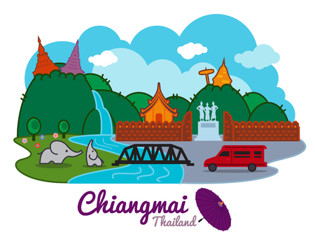 치앙마이의 도시 태국 - 만화 랜드 마크 traval location vector design