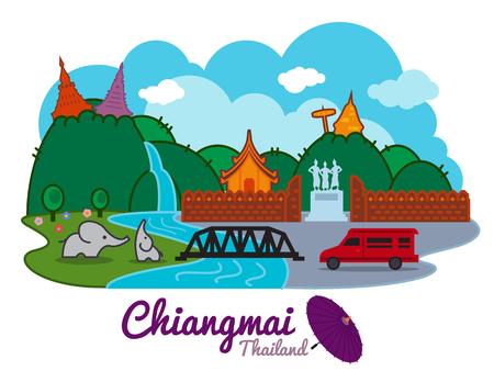 lanna: Chiangmai city of thailand - cartoon landmark traval location vector design