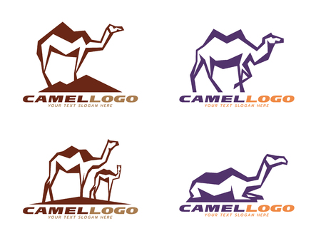 camel hump: Brown and purple Camel abstract sharp logo vector design Illustration