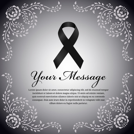 condolence: funeral card - Black ribbon and place for text on flower leaf frame vector design