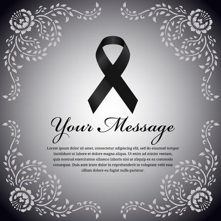 melanoma: funeral card - Black ribbon and place for text on flower leaf frame vector design