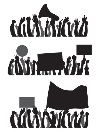 Black Silhouette hand for protest isolate on white background vector design