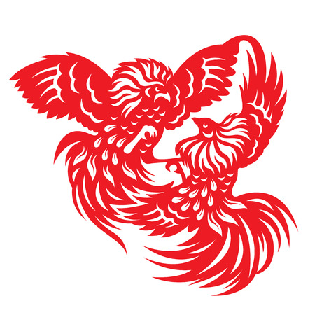 Red paper cut a rooster chicken gamecock zodiac symbols Illustration