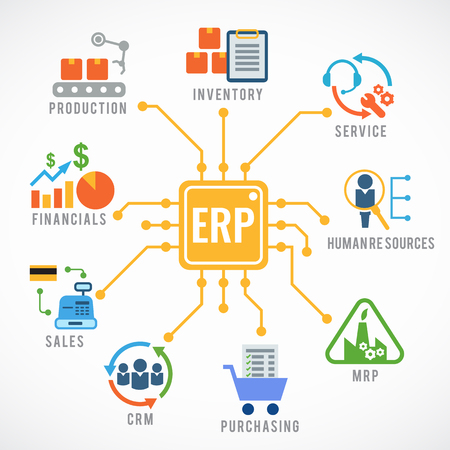 ERP (Enterprise Resource Planning) 모듈 구성 흐름 아이콘 아트 벡터 디자인