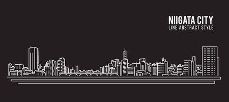 Cityscape Building Line art Vector Illustration design - Niigata city