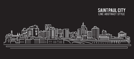 paul: Cityscape Building Line art Vector Illustration design - Saint Paul city