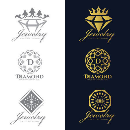 Jewelry logo (Crown Diamond and flower) vector set and isolate on white background vector set design Çizim