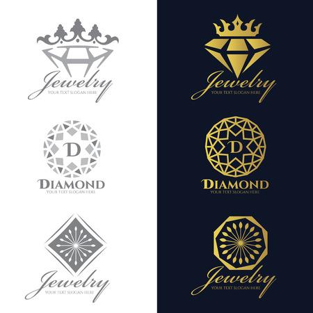 logo Bijoux (Crown Diamond et de fleurs) vecteur fixés et isoler sur fond blanc vecteur ensemble conception Logo