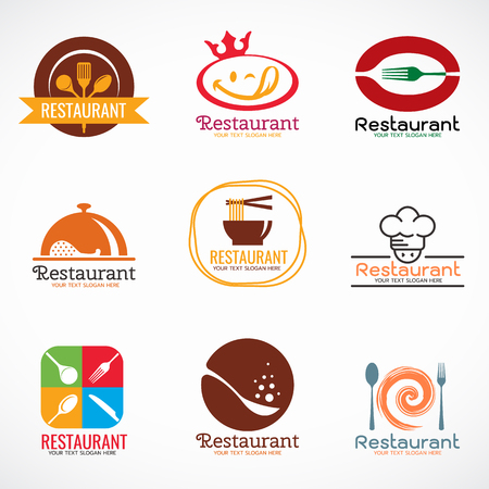 Restaurant  logo and food shop logo vector set design
