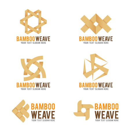 Bamboo weave logo vector illustration set design