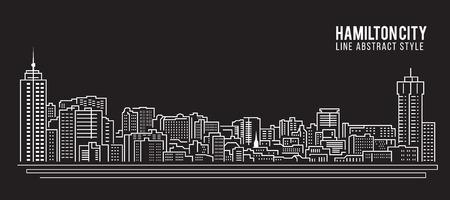 hamilton: Cityscape Building Line art Vector Illustration design - Hamilton city