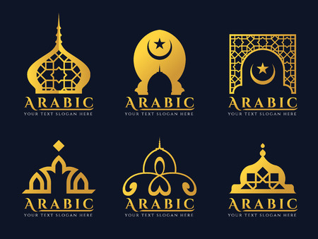 Gold Arabic doors and mosque architecture art logo vector set design 일러스트
