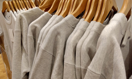warm cloth: Close up soft gray Sweaters, long sleeve and  hanger