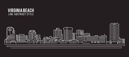 beach panorama: Cityscape Building Line art Vector Illustration design - Virginia beach city Illustration