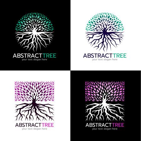 抽象ツリーのサークルロゴと広場木ロゴ ベクトル アート デザインを抽象化します。