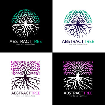circle abstract tree logo and Square abstract tree logo vector art design